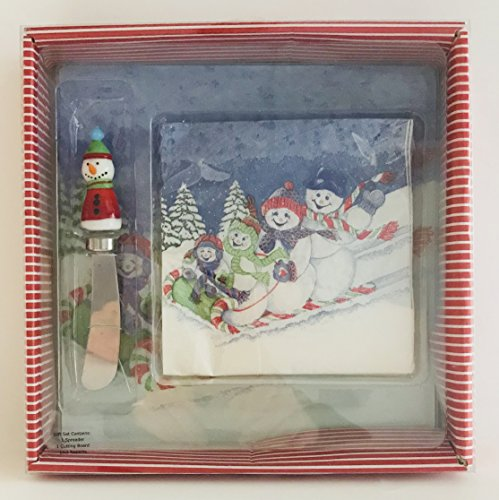 Snowman Spreader Set (Hand Blown Glass Snowman With A Carrot Nose | Snowmen Sledding Cocktail Napkins & Cheese Board Set | 7.5 inches x 7.5 inches)