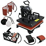 Arts & Crafts : F2C Pro 6 in 1 Combo Heat Press Machine T-shirt Hat Cap Mug Plate Digital Transfer Sublimation Machine (6 in 1)