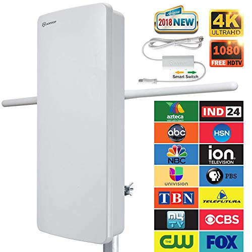 Outdoor TV Antenna - ANTOP 400-BV Amplified Flat Antenna with Noise-Free 4G Filter