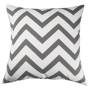CoolDream Cotton Charcoal Gray Chevron Design Decorative Throw Pillow Cover 18 X 18 inch