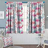 Chaneyhouse Watercolor Window Curtain Drape Flamingos in Many Colors Hand Drawn Bird Exotic
