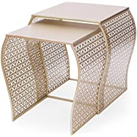 ELEGAN Luxury Classic Metal Accent Nesting Side End Table (Set of 2) (Golden Curved)