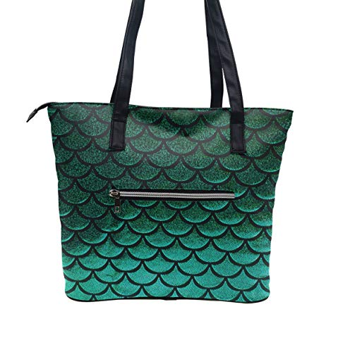 Green Pastel Mermaid Fish Scale Beach Shoulder Tote Bags Leather Shoulder Handle Bag for Women - Lightweight Top Zipper Closure Satchel Fashion Handbag for Women Girls