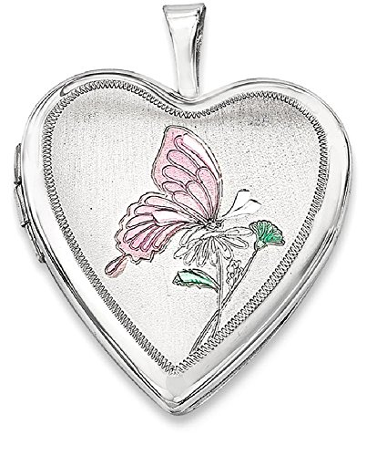 ICE CARATS 925 Sterling Silver 20mm Enameled Butterfly Heart Photo Pendant Charm Locket Chain Necklace That Holds Pictures Fine Jewelry Gift Set For Women (Enameled Locket)