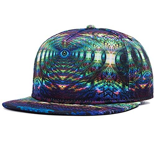So'each 3d Galaxy Maze Starry Print Flatbill Visor Snapback Baseball Hat Neon Sign (Animal Visor Hat)