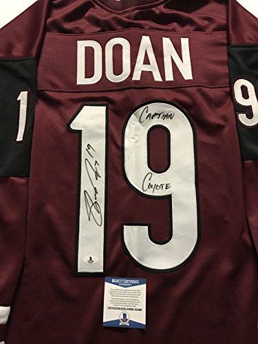 """Autographed/Signed Shane Doan """"Captain Coyote"""" Arizona Coyotes Red Hockey Jersey Beckett BAS COA"""