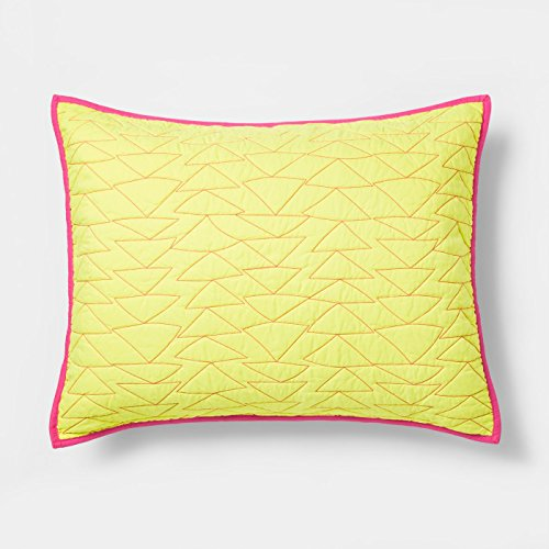 Pillowfort Triangle Stitch Quilted Pillow Sham (Standard) - Yellow, Pink by Pillowfort