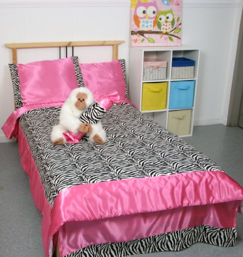 (SoHo Hot Pink Satin and Zebra Print Chenille Twin Kids Childrens Bedding Set 4 pcs Monthly Special !)