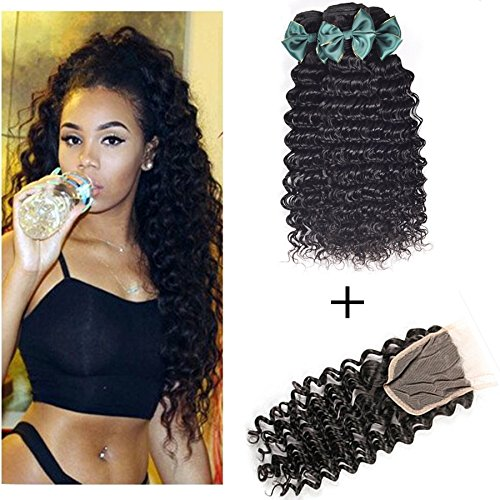 Perstar hair 7A Grade Brazilian Deep Wave 3 Bundles with Closure Unprocessed Virgin hair with 4''4'' lace closure free part(14 16 18+14 free part) by Perstar