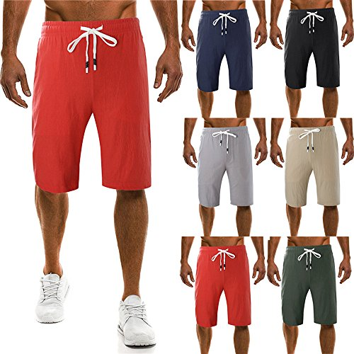 FarJing Mens Pants ClearanceMen's Fashion New Drawstring Pure Color Printing Loose Sports Pants for cheap