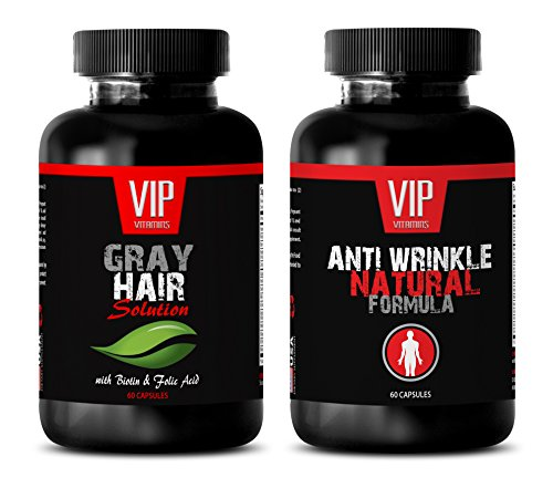 anti-aging essential – GRAY HAIR SOLUTION – ANTI WRINKLE FORMULA – saw palmetto natural – 2 Bottles (60 Capsules + 60 Capsules) For Sale