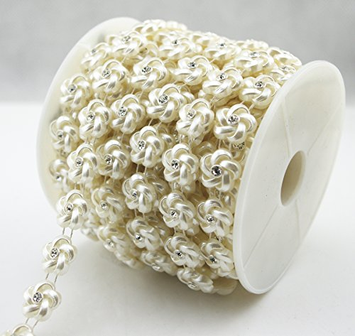 AEAOA 10 Yards 3/5 Ivory Flower Pearl Rhinestone Chain Trims Sewing Wedding Decoration Craft Beaded Trim (LZ182)
