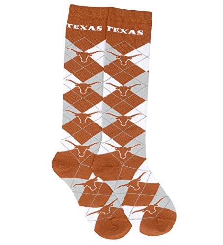 For Bare Feet NCAA Repeat Logo Argyle Knee High Socks-Medium-Texas Longhorns