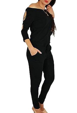 Minetom Femme Décontractée Col Bateau Manches 3 4 Bustier Jumpsuit Rompers  Combinaison Sexy Longues Pantalons 44fea89c1a63