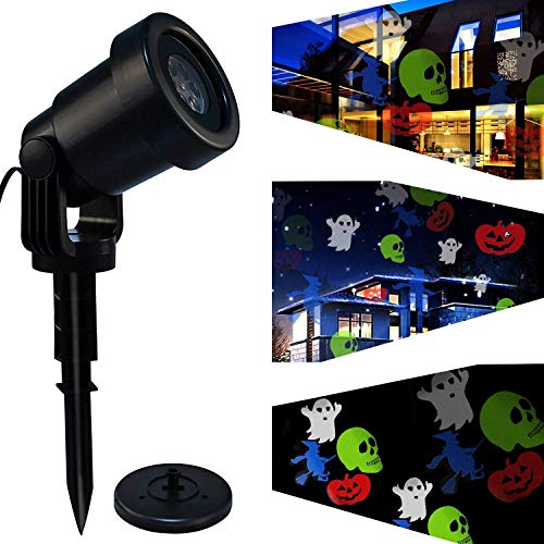 Halloween Projector Light with Skulls Pumpkin Ghost Pattern, Holiday Christmas Projector Light Outdoor, Soft White Energy-Saving LED Landscape Projector Lamp IP44 Waterproof