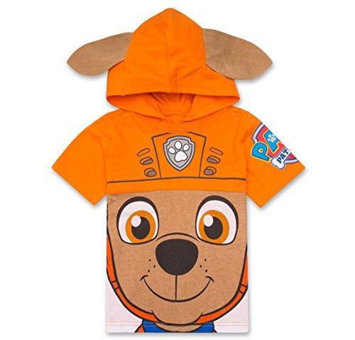 Nickelodeon Paw Patrol Hooded Shirt: Chase, Marshall, Rocky, Rubble, Zuma - Boys, Orange 5T