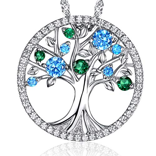 Gifts for Women Christmas The Tree for Life Necklace December Birthstone and LC Green Emerald Birthstone Jewelry Anniversary Birthday Gifts for Her Wife Girlfriend Grandma Sterling Silver