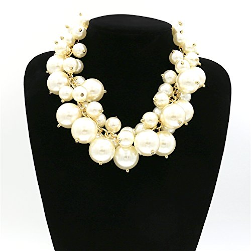 Comelyjewel Fashion Jewelry Girls Bubble Simulated Pearl Chain Layered Statement Bib Necklace For ()