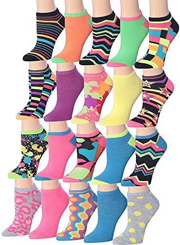Tipi Toe Women's 20 Pairs Colorful Patterned Low Cut / No Show Socks, (sock size9-11) Fits shoe size 6-12, WL06-AB (Colorful Sock Pack)