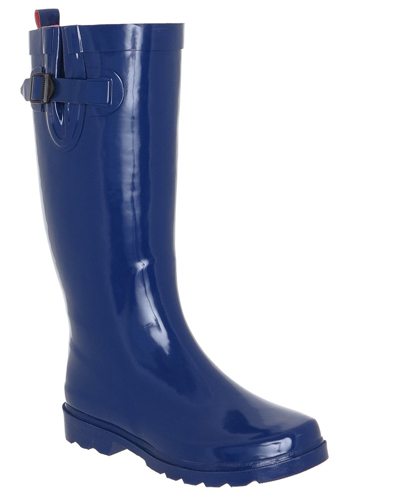 Capelli New York Ladies Shiny Solid With Buckle, Rubber Rain Boot Blue 7