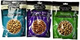 Saffron Road Crunchy Seasoned Chickpeas Snack 3 Flavor Variety Bundle: (1) Saffron Road Wasabi Crunchy Chickpeas, (1) Saffron Road Bombay Spice Crunchy Chickpeas, and (1) Saffron Road Falafel Chickpeas, 6 Oz. Ea. (3 Bags Total)