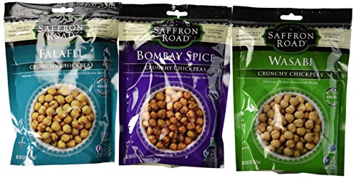 Saffron Road Crunchy Seasoned Chickpeas Snack 3 Flavor Variety Bundle: (1) Saffron Road Wasabi Crunchy Chickpeas, (1) Saffron Road Bombay Spice Crunchy Chickpeas, and (1) Saffron Road Falafel Chickpeas, 6 Oz. Ea. (3 Bags Total) Review