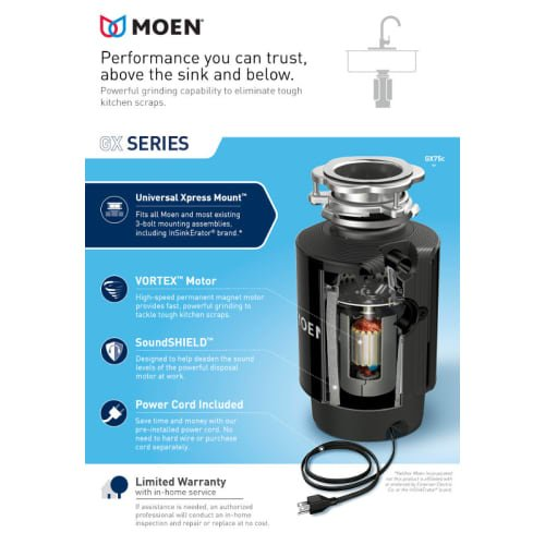 Moen Gxp50c Gx Pro 1 2 Hp Continuous Garbage Disposal With
