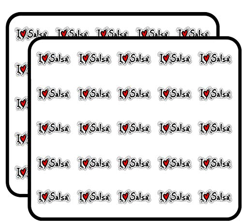 I Love Salsa Dance Sticker for Scrapbooking, Calendars, Arts, Kids DIY Crafts, Album, Bullet Journals 50 Pack ()
