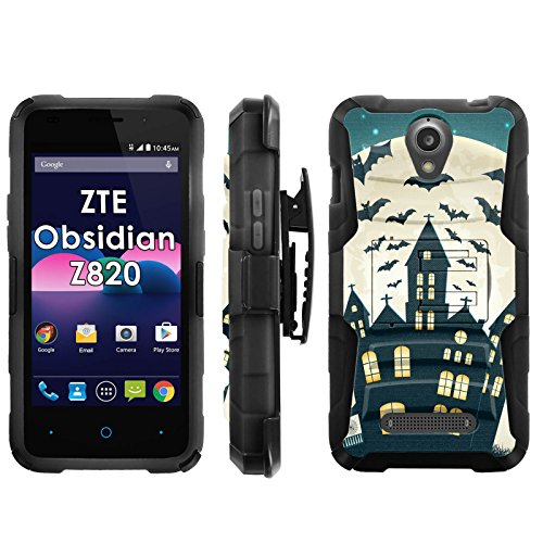 ZTE Obsidian Z820 Phone Cover, Full Moon Rising- Blitz Hybrid Armor Phone Case for [ZTE Obsidian Z820] with [Kickstand and Holster] [INCLUDES Ultra Clear Screen -