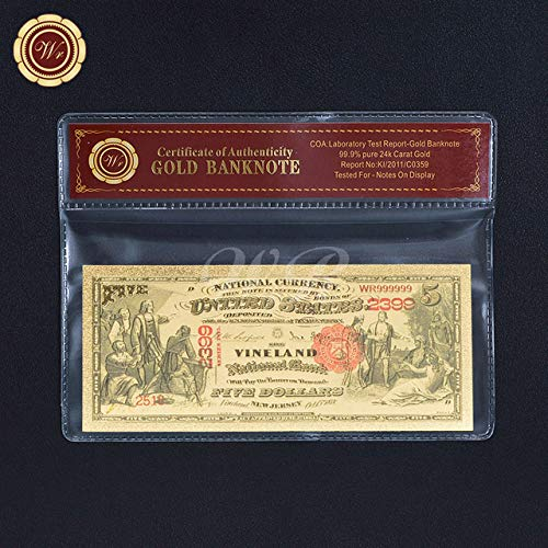 Vincent-Prestiges - 1899 Series $2 Two Dollar Silver Certificate US Gold Banknote Fine 24k Gold Foil Note with PVC ()
