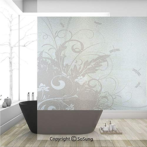 3D Decorative Privacy Window Films,Retro Style Flower Elegance with Grunge Effects on Vivid Tones Artsy Image Decorative,No-Glue Self Static Cling Glass film for Home Bedroom Bathroom Kitchen Office 3