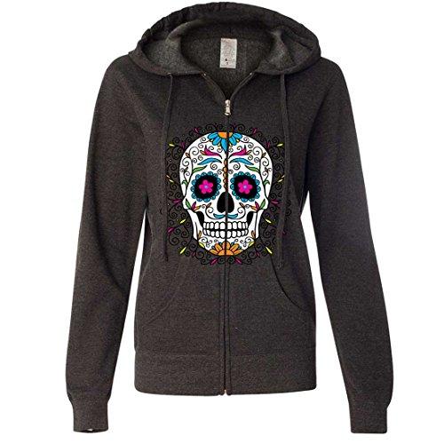 Dia De Los Muertos Pastel Sugar Skull Ladies Zip-Up Hoodie - Charcoal Heather Large ()