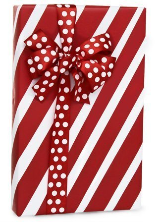 Red & White PEPPERMINT STRIPE Christmas Gift Wrap Wrapping Paper - 16ft Roll (Christmas Stripe Wrap Gift)