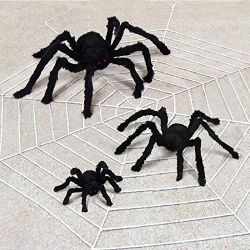 VVigor Giant Halloween Decorations Spiders, Foldable Scary Huge Spiders Haunted House Prop, Outdoor Indoor Yard Décor (1, Black) (4.1ft) -