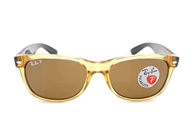 ray ban unisex honey and black wayfarer sunglasses  ray ban rb 2132 945/57 55mm new wayfarer honey w/ crystal brown