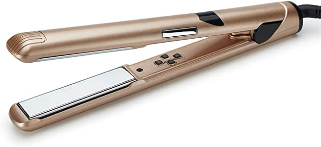 2 in 1 Hair Straightener and Curler, Professional Ceramic Flat Iron Dual Voltage Travel Design for All Hair Style with 3D Floating Plates & Adjustable Temperature (140-230℃)