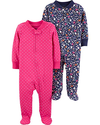 Carter's Baby Girls Footed Sleeper Cotton Sleep and Play Zipper Pajamas, Set of 2 (6 Months, Pink/Navy)