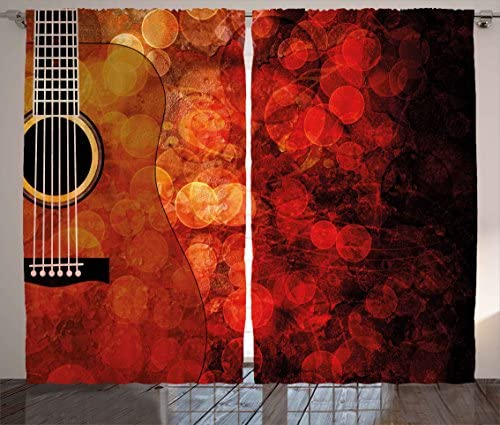 Ambesonne Music Curtains, Acoustic Guitar on Vivid Grunge Backdrop Performance Melody Theme Art, Living Room Bedroom Window Drapes 2 Panel Set, 108 X 84 , Scarlet Ruby