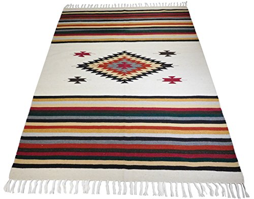 El Paso Designs Beautiful Mazatlan and San Miguel Blanket- 5'x7' Heavy Weight, Hand-Woven Blanket with Intricate Mexican Saltillo Diamond (San (Hand Woven Tapestry)