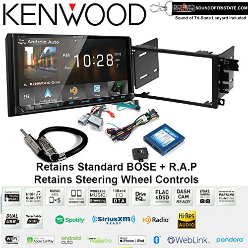 Kenwood DMX905S 6.95 Digital Media Receiver Install Kit with Apple CarPlay Bluetooth Fits 2003-2005 Chevrolet Blazer, 2003-2006 Silverado, Suburban Bose and SWC Bundle