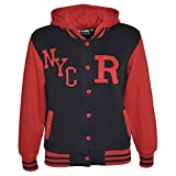 Kids Girls Boys R Fashion NYC Baseball Hooded Jacket Varsity Hoodie 5-13 Years