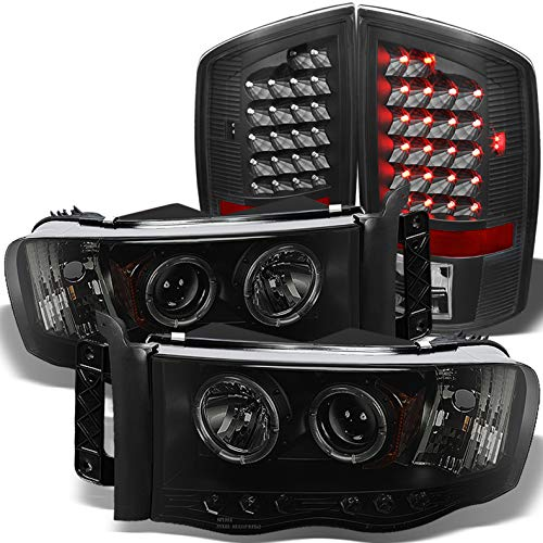 Xtune for 2002-2005 Dodge Ram Mystery Black Smoked Halo Projector Headlights + Black LED Tail Lights 2003 2004