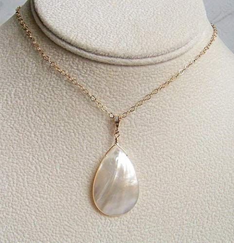 Ivory White Mother Of Pearl Shell Teardrop Jewelry Pendant 18 Inch Gold Filled Necklace Gift Idea -