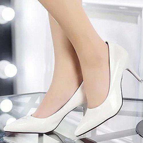 Toe bianco Topgrowth Col Pointed con Shoes Scarpe Lavoro Donna Leather Tacco Ufficio Scarpe Scarpe Tacco Stiletto Elegante axa6qEOwr
