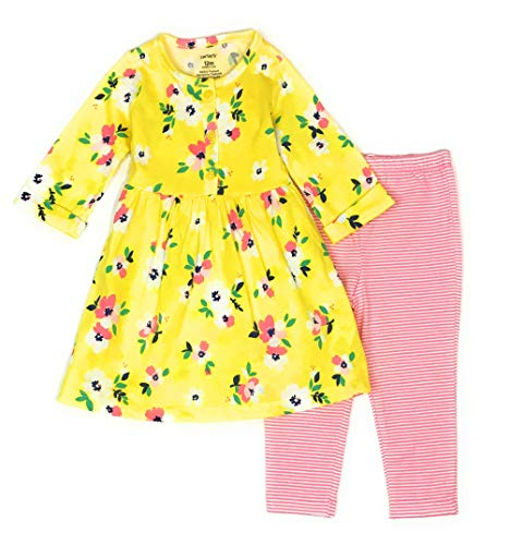 Carter's Baby Girls 2-Piece Dress with Legging Set (6 Months, Yellow/Pink Floral) ()