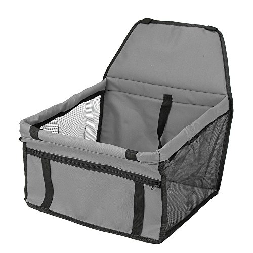 REXWAY Portable Dog Booster Car Seat, Waterproof Pet Carrier For Cars with Clip-On Safety Leash and Zipper Storage Pocket, Perfect for Small and Medium Dogs