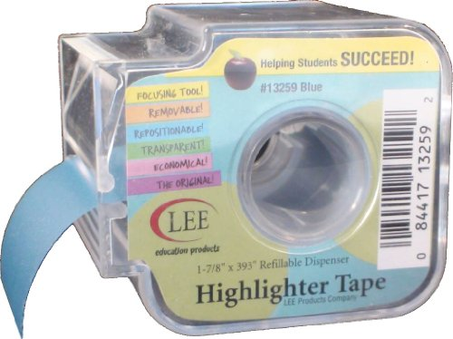 Lee Products Co. 1 7/8-Inch Wide, 393-Inch Long Highlighter Tape with Refillable Dispenser, Blue (13259)