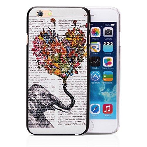 Infinite U Jewellery Motif Eléphant tenant un Bouquet en forme de Cœur Phone Case/Coque/Etui/Housse de Protection pour iphone 6/iphone 6s (4.7 Pouces)