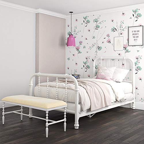 (DHP Jenny Lind Metal Bed Frame in White with Elegant Scroll Headboard and Footboard, Twin size)