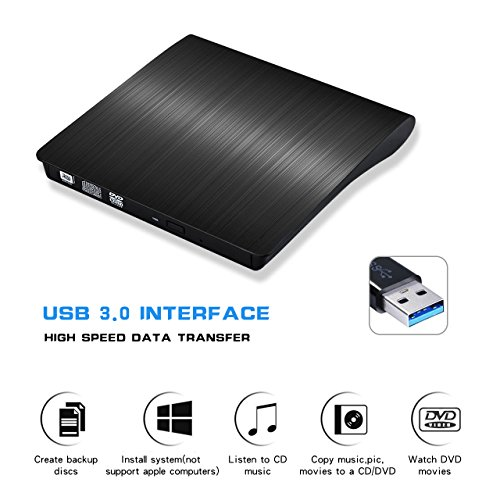 TeeBeg External CD Drive, External DVD Drive USB 3.0 Slim Portable High Speed Data Transfer DVD/CD/Drive/Player/Writer/Burner/Rewriter for Laptop/Macbook/Desktop/MacOS/Windows10/8/7/XP (Black) by TeeBeg (Image #7)